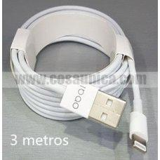 Cable para iphone 5g ORIGINAL 3 metros - 1 AÑO GARANTIA
