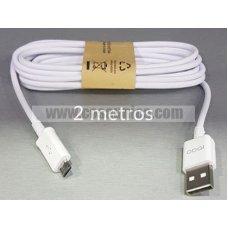 Cable para MicroUSB  V8 SAM ORIGINAL 2 metros - 1 AÑO GARANTIA