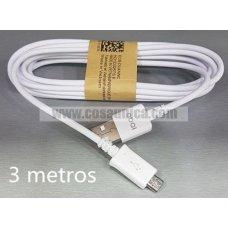 Cable para MicroUSB  V8 SAM ORIGINAL 3 metros - 1 AÑO GARANTIA
