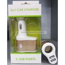 Cargador de coche 3 en 1 con 2 USB 2.1A y 1.0A
