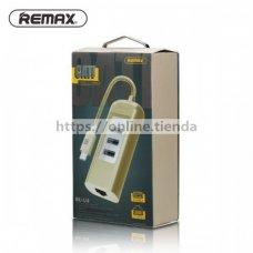 Remax Cati USB HUD x 3 USB con Ethernet RJ45 conector RU-U4 Type-C-conector