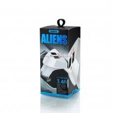 Remax RC-C208 Aliens cargador de coche 2-USB 3.4A con indicador de batería de coche
